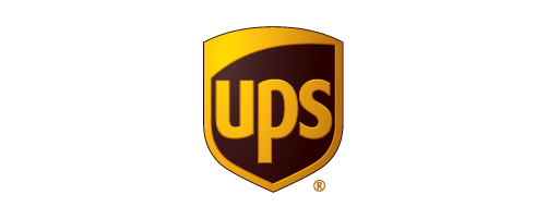 """Yellow and brown shield with """"UPS"""" text in the middle"""
