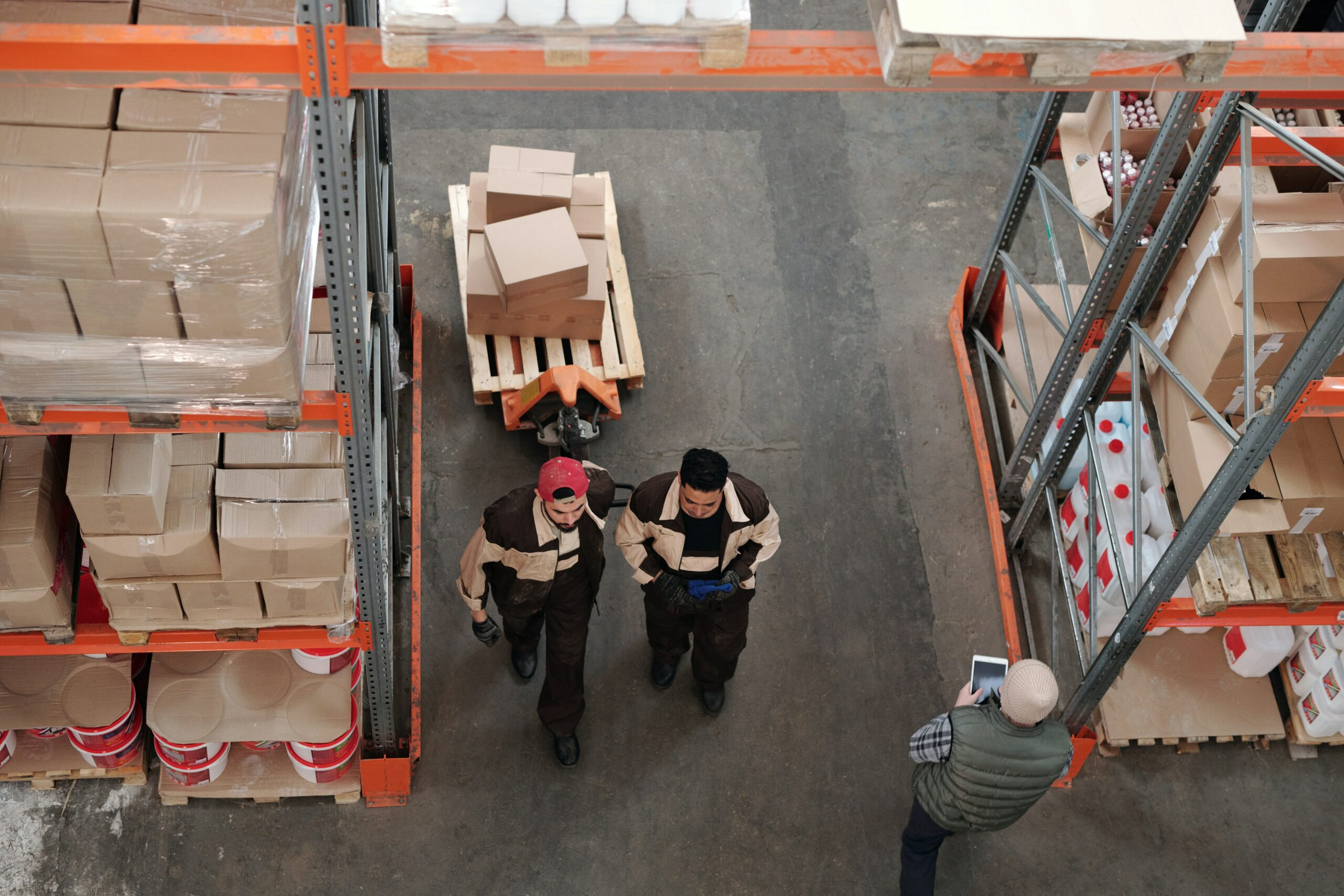 People working in a warehouse for exporting