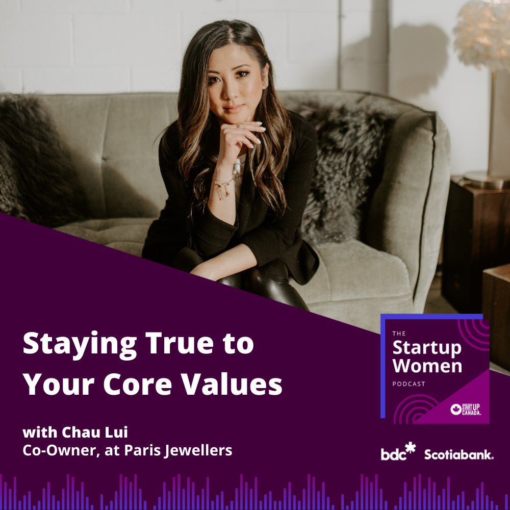 Photo of Chai Lui sitting on a couch and the title of the podcast Staying True to Your Core Values