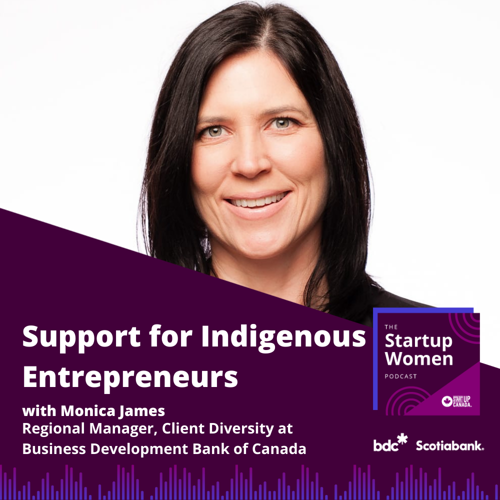 Photo of Monica James with podcast title that reads Support for Indigenous Entrepreneurs