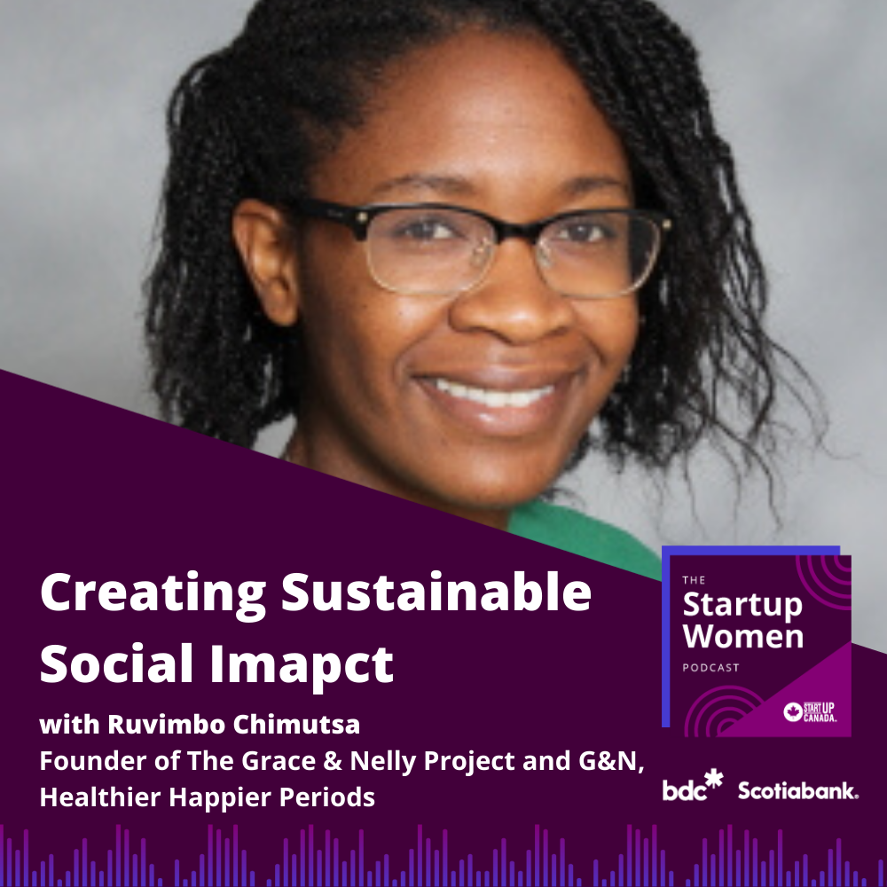 Photo of Ruvimbo Chimutsa and the podcast title Creating Sustainable Social Impact